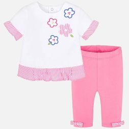 Set T-Shirt Blumen und Leggings Mayoral Babymode
